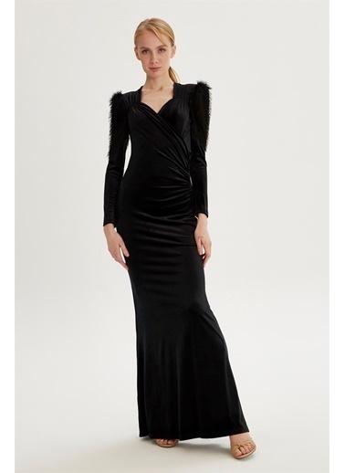 Setre  Kruvaze Yaka Abiye Elbise Siyah